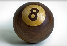 Woodturning an 8-ball from a chunk of walnut