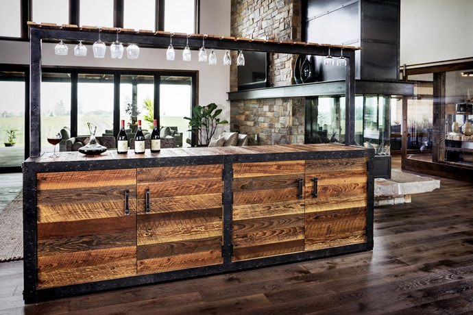 built out of 100-year old barn wood reclaimed from the client's family property.