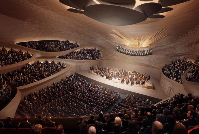 The sound wave concert hall by Zaha Hadid Architects