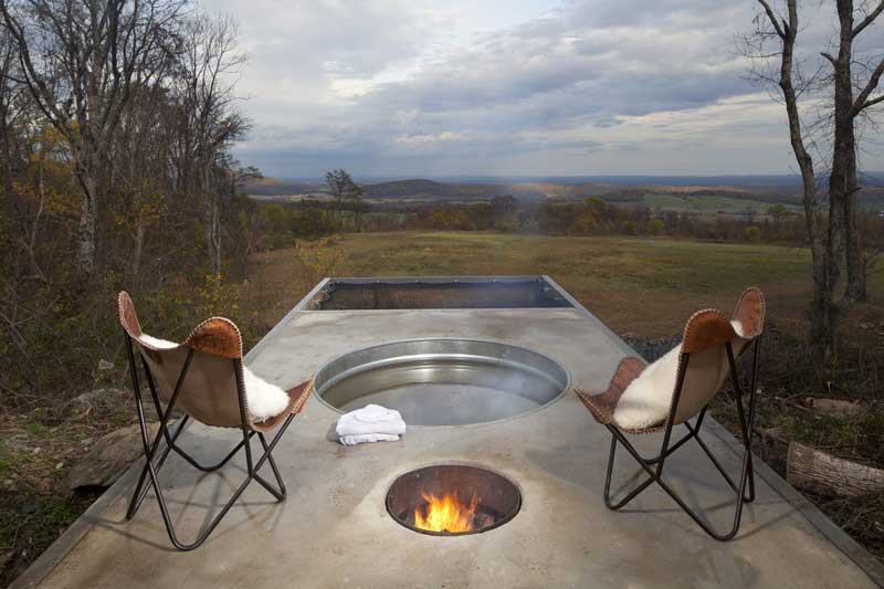 Small fire pit and a hot tub