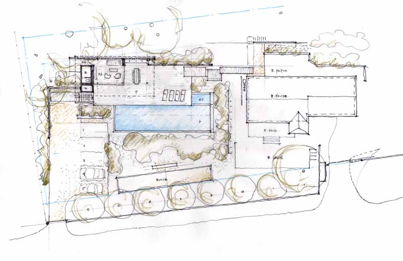 The Dry Creek Poolhouse drawings by Ro Rockett Design