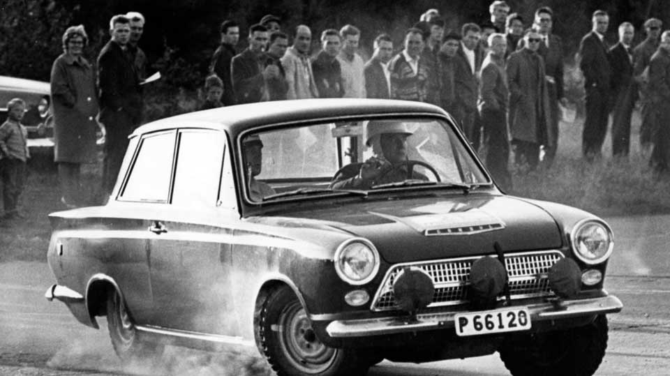 "Erik in his 1963 Ford Cortina competing in the ""Midnight Rally / Midnattssolsrallyt"""