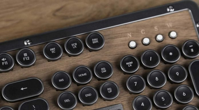 This Classic Retro Wooden Keyboard stands out