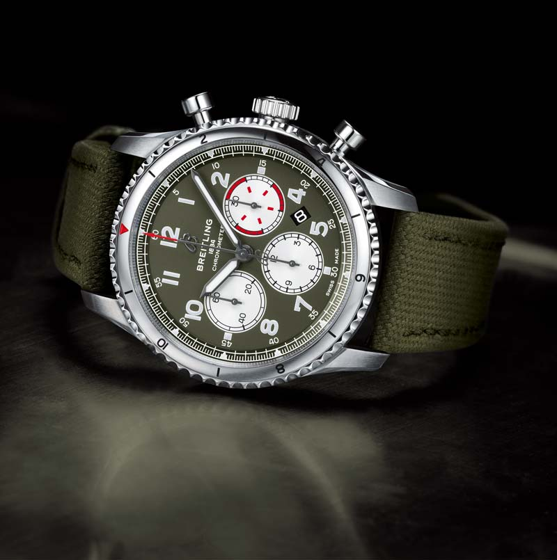 Aviator 8 B01 Chronograph 43 Curtiss Warhawk with military green dial and strap
