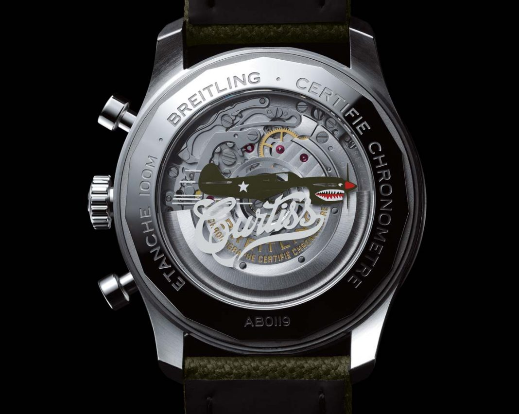 The Breitling Curtiss Warhawk collection: Caseback of the Aviator 8 B01 Chronograph 43 Curtiss Warhawk