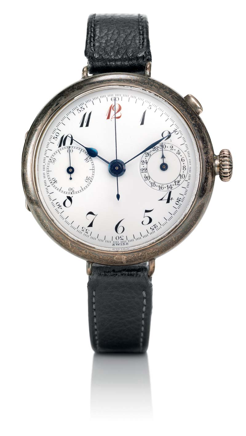 Breitling wrist chronograph with the first independent pushpiece at 2 o'clock, circa 1915.