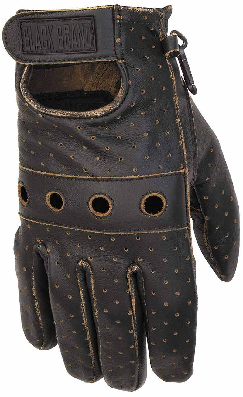 Black Brand Leather motorcycle gloves: vintage knuckle gloves