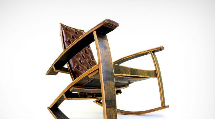 Rocker chair made from reclaimed wooden casks