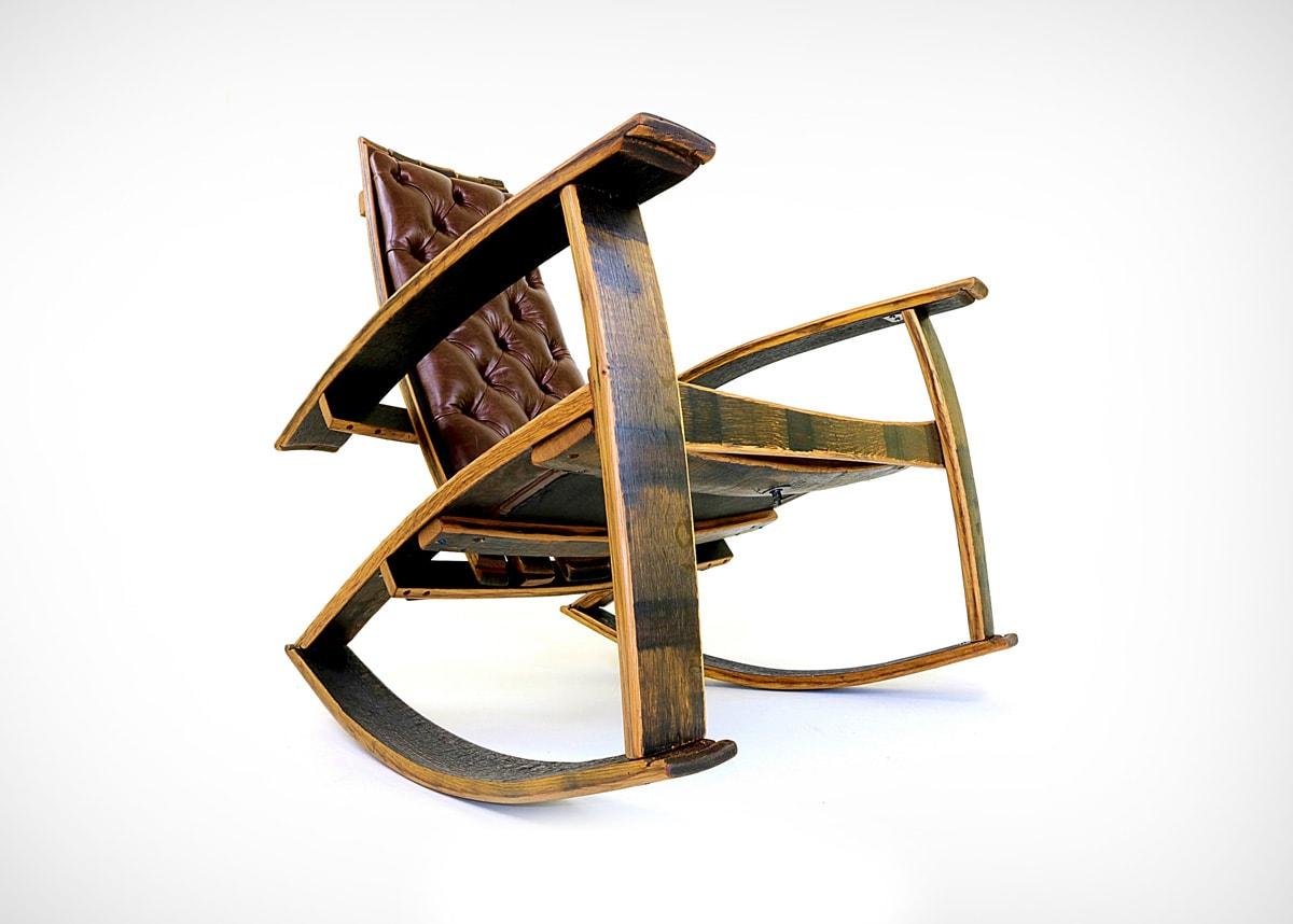 Rocker chair made from reclaimed wooden casks