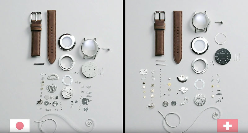 Japanese and swiss watches piece by piece