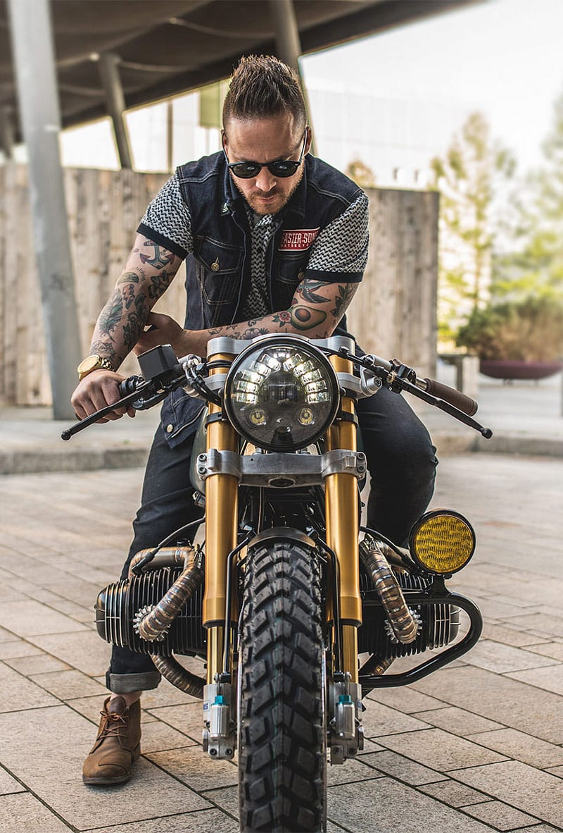 "One of the creators of the Custom BMW R100r ""Moon Crawler"" Arjan van den Boom"