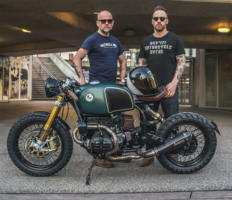 "The creators of the Custom BMW R100r ""Moon Crawler"" Eric Kalter and Arjan van den Boom"