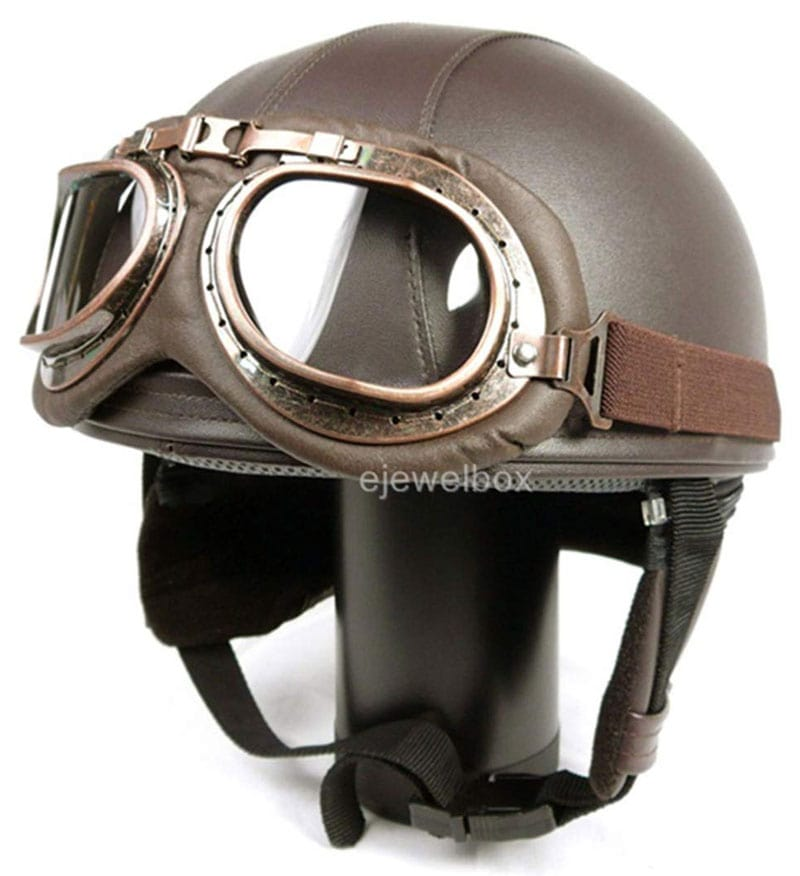 Hanmi Global Leather helmet: Vintage style with goggles