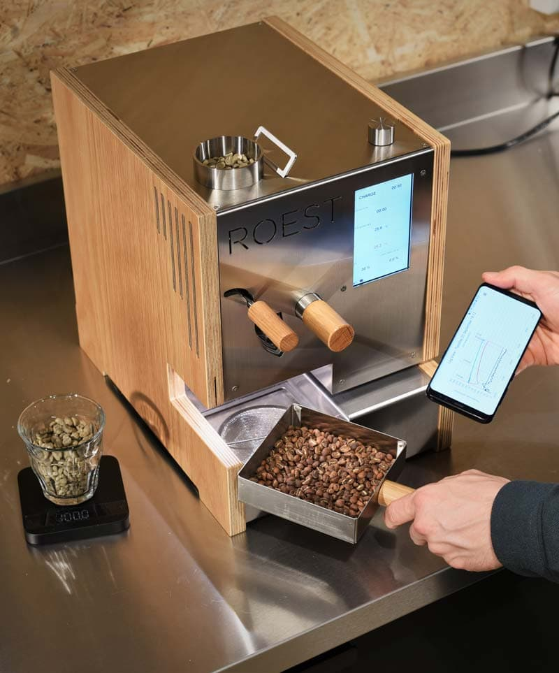 closely monitored roasting process via multiple sensors and smart software