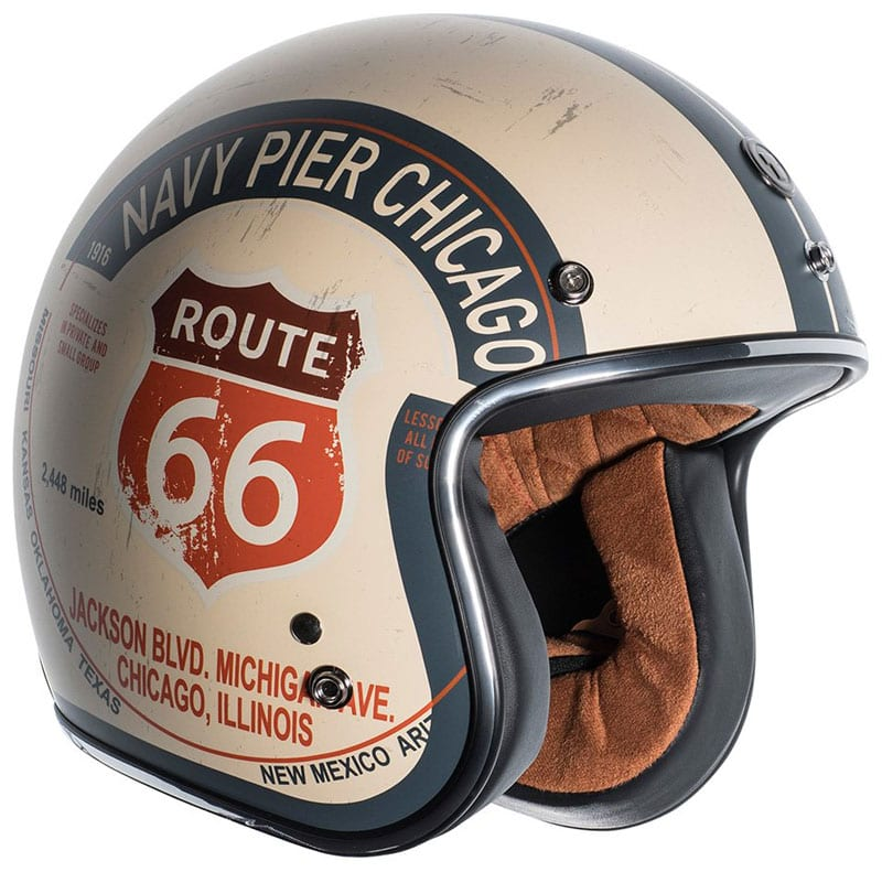 Top 10 retro motorcycle helmets: TORC T50 3/4 helmet - Cool Route 66 graphic