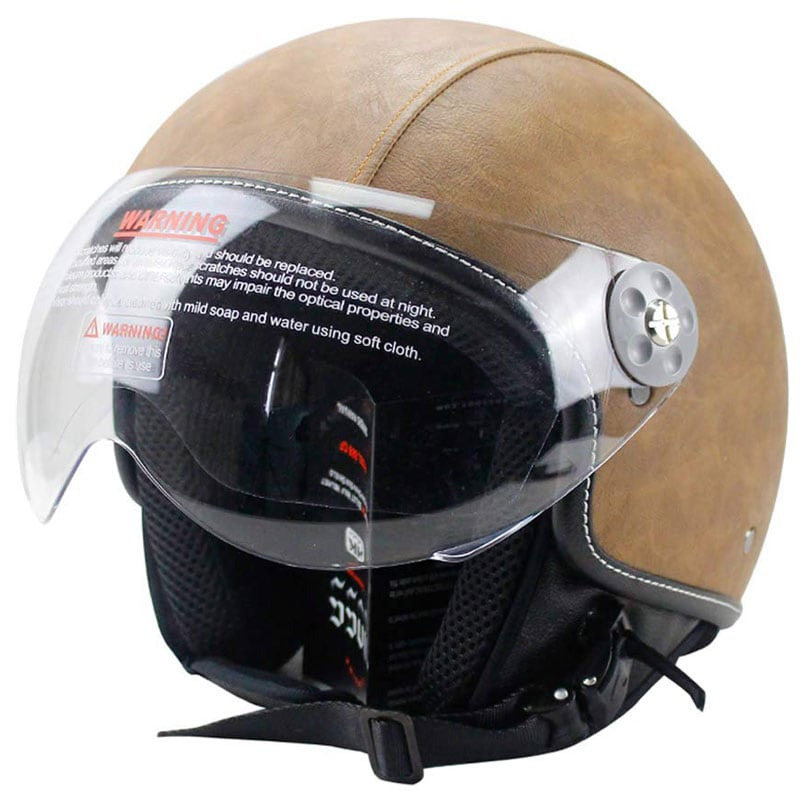 Woljay Core Vintage motorcycle helmet: Classic leather-look