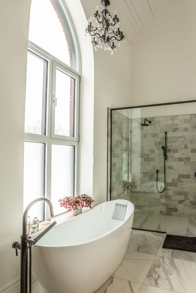 The bathroom with original window frame