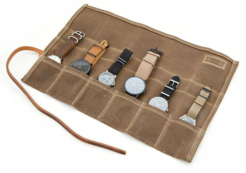 Cool Material Waxed Canvas Watch Roll