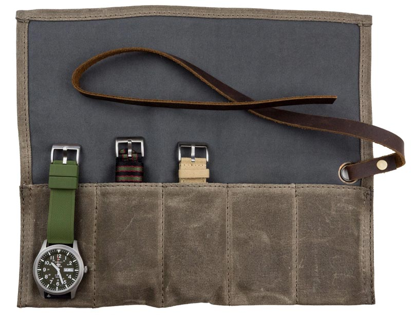 Barton watch roll in waxed canvas