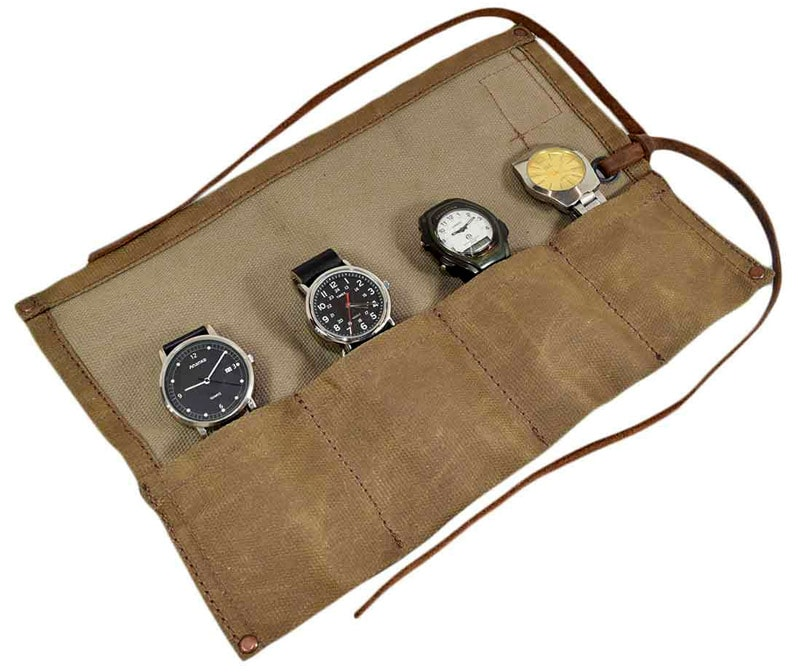 Hide & Drink waxed canvas travel watch roll