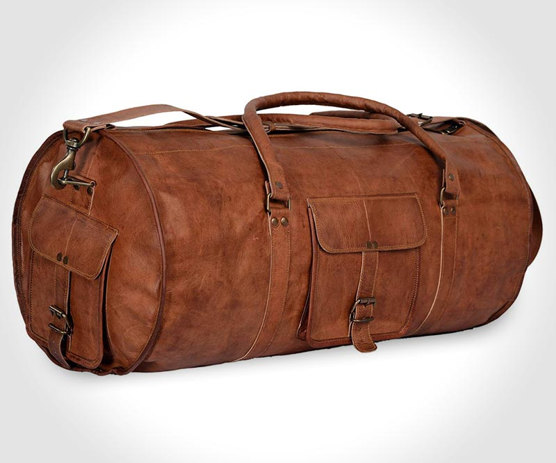 All leather duffel bag by Komal's Passion Leather