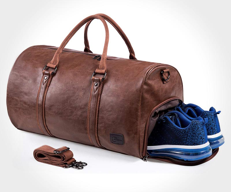 Top-10 vintage-style duffel bags for men - Waterproof leather-look travel bag by Seyfocnia