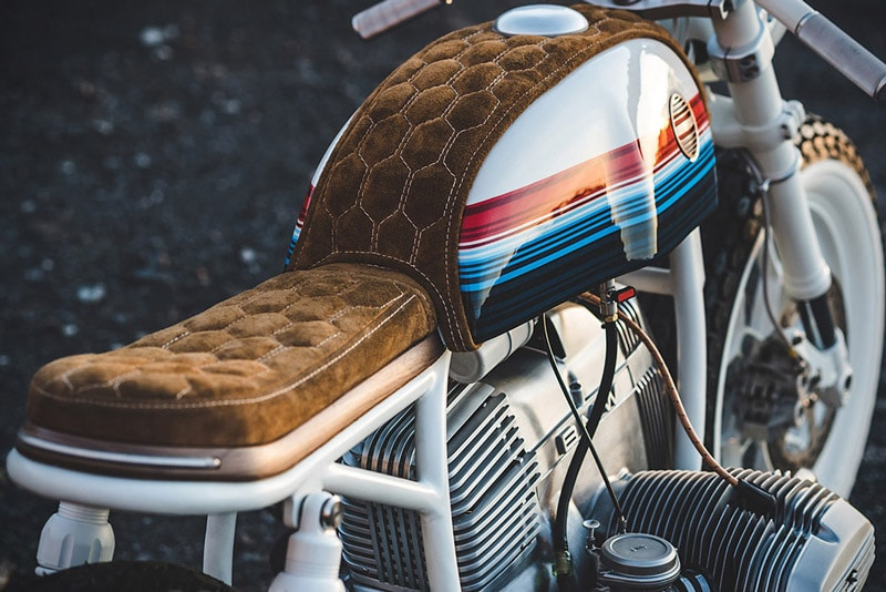 handmade seat and tank cover in brown nappa suede