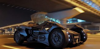 Team Galag Batmobile on public roads in Dubai