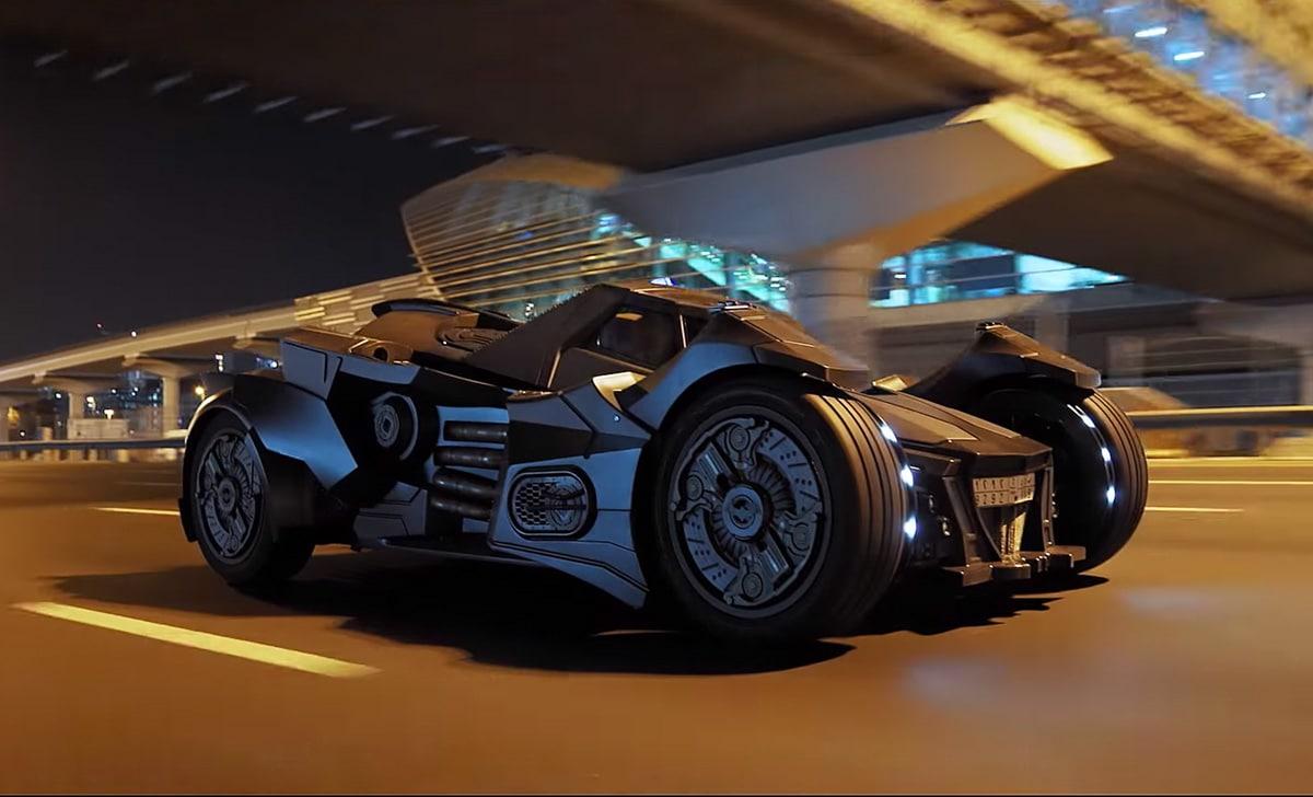 Team Galag Batmobile on public roads in Dubai