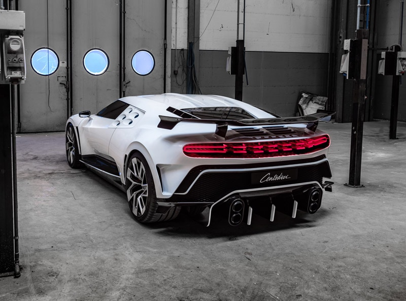 "futuristic ""flying"" tail-light elements and a double-outlet dual exhaust completes the extreme look with a massive wing"
