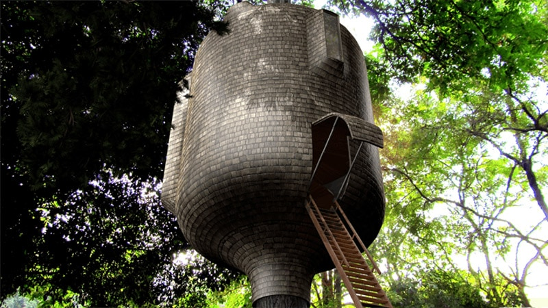The Embryo concept is a cylindrical two-story residence with a hatch-entrance from below