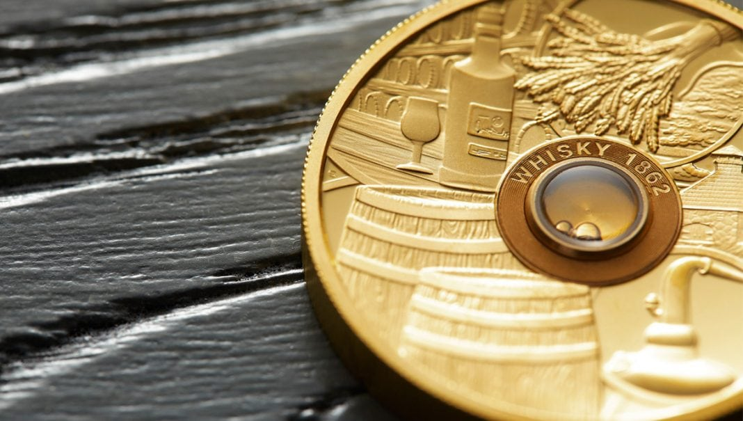 Spirit Coins set: Centuries-old whisky, rum and cognac hidden in gold coins