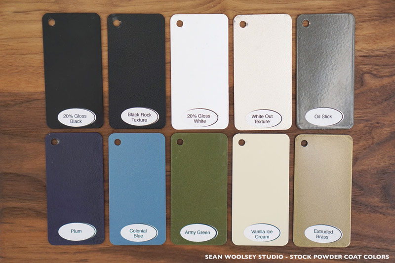 Choose from many powder coat colors for the steel base – or ask about customization options.