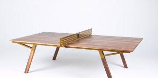 Wooden Ping Pong table by Sean Woolsey Studio