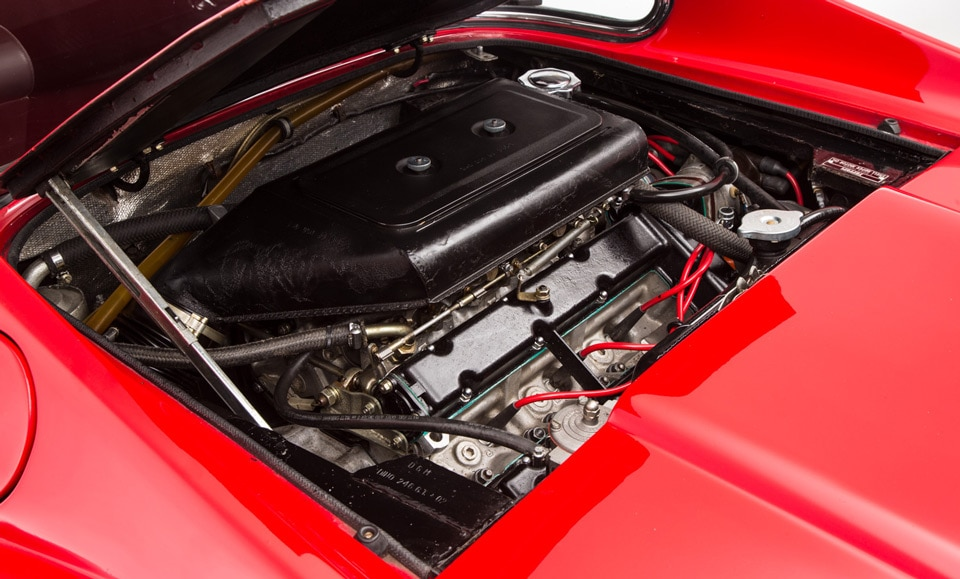 The less-powerful 6-cylinder engine was installed in the Ferrari Dino to make is less dangerous for non-racing drivers.
