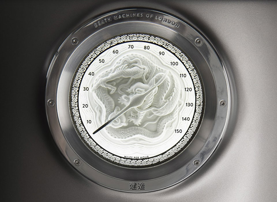 Handcrafted speedometer features a dragon and is made from an 18th century Japanese jewellery box.