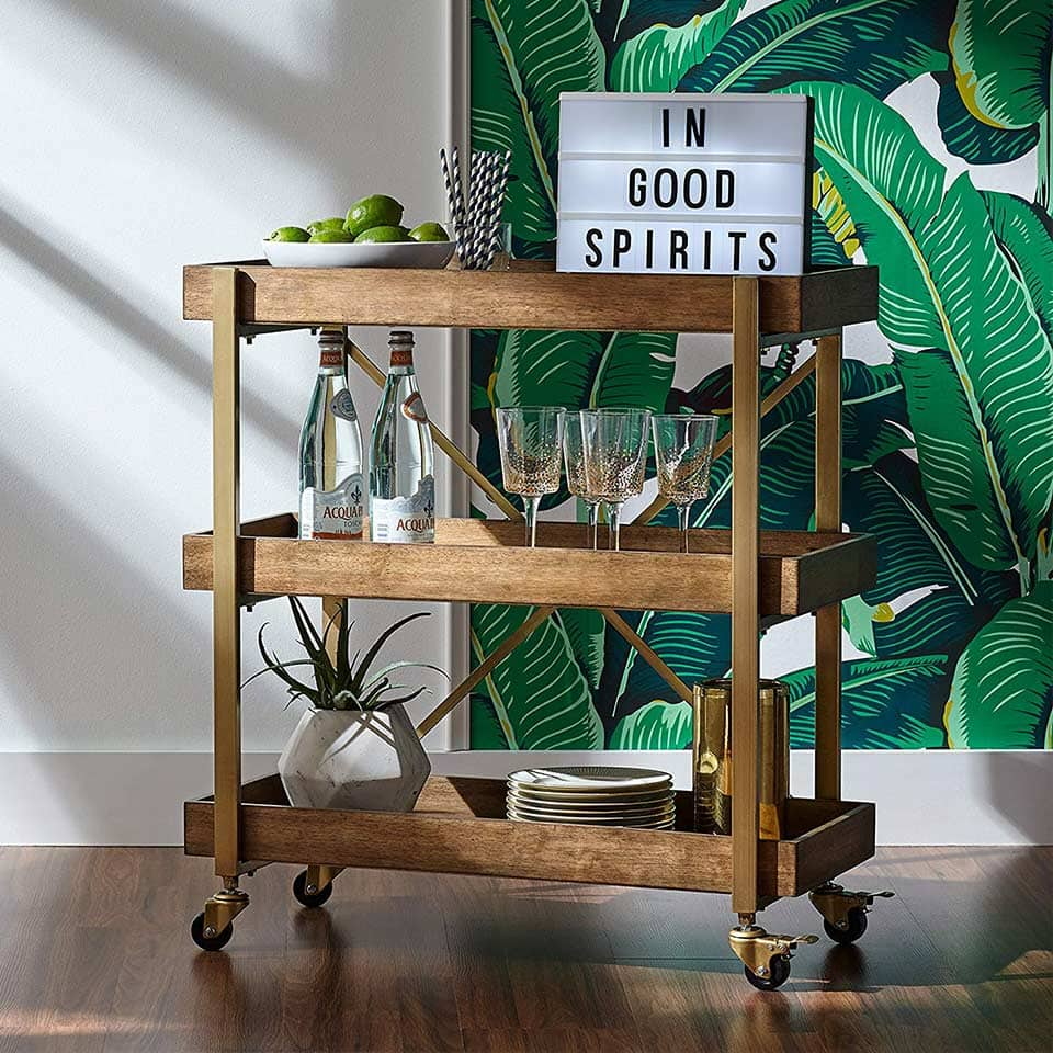 3-tiered rustic metallic bar cart from Rivet