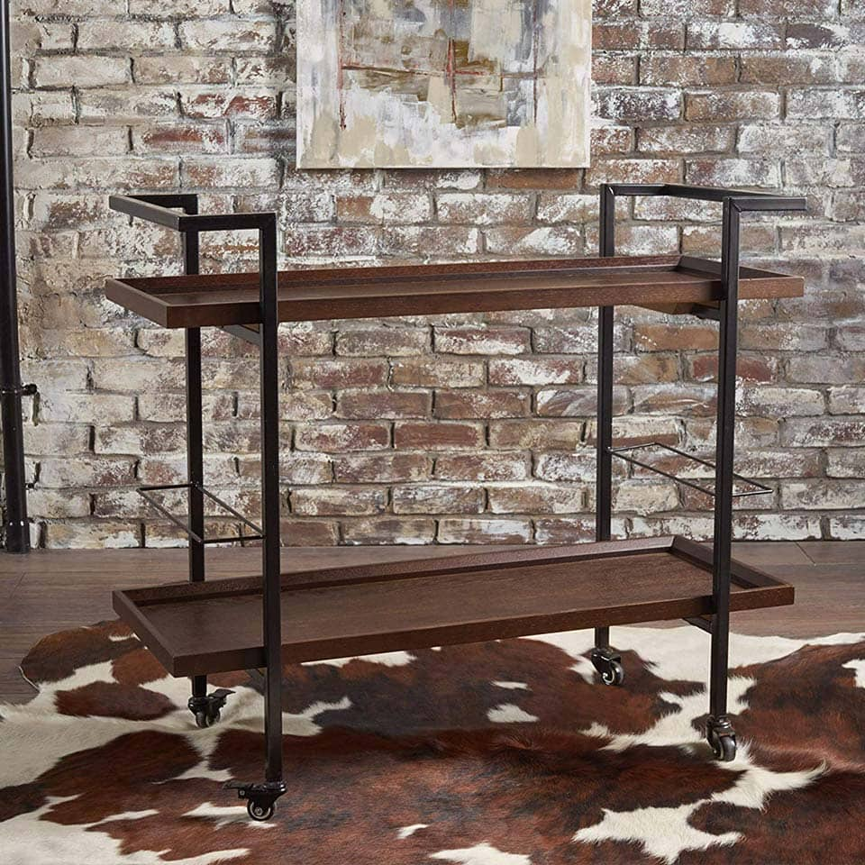 Dark walnut finished wooden bar cart from Christopher Knight