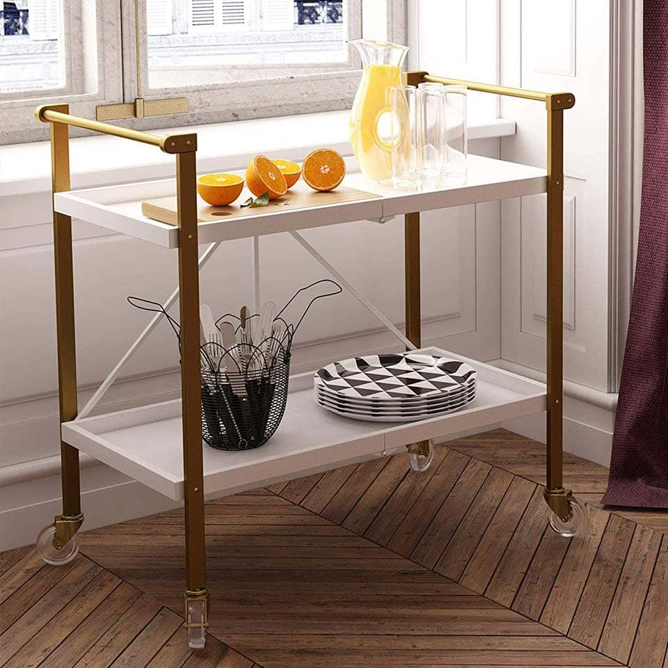Foldable white and gold bar cart from CosmoLiving
