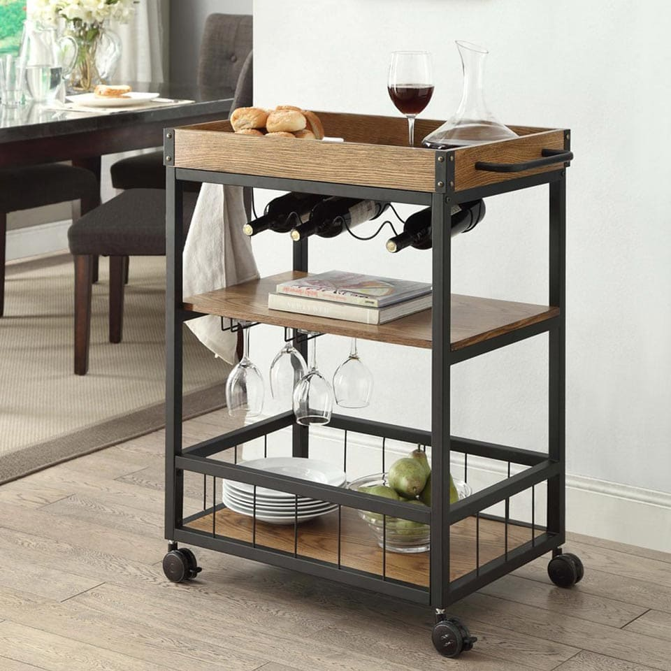 Industrial style bar cart