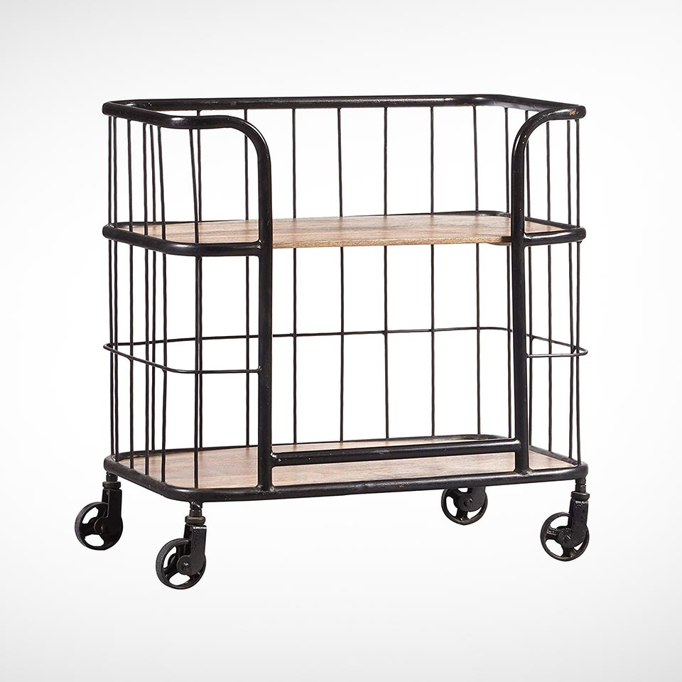 Industrial wood and metal bar cart from Pulaski