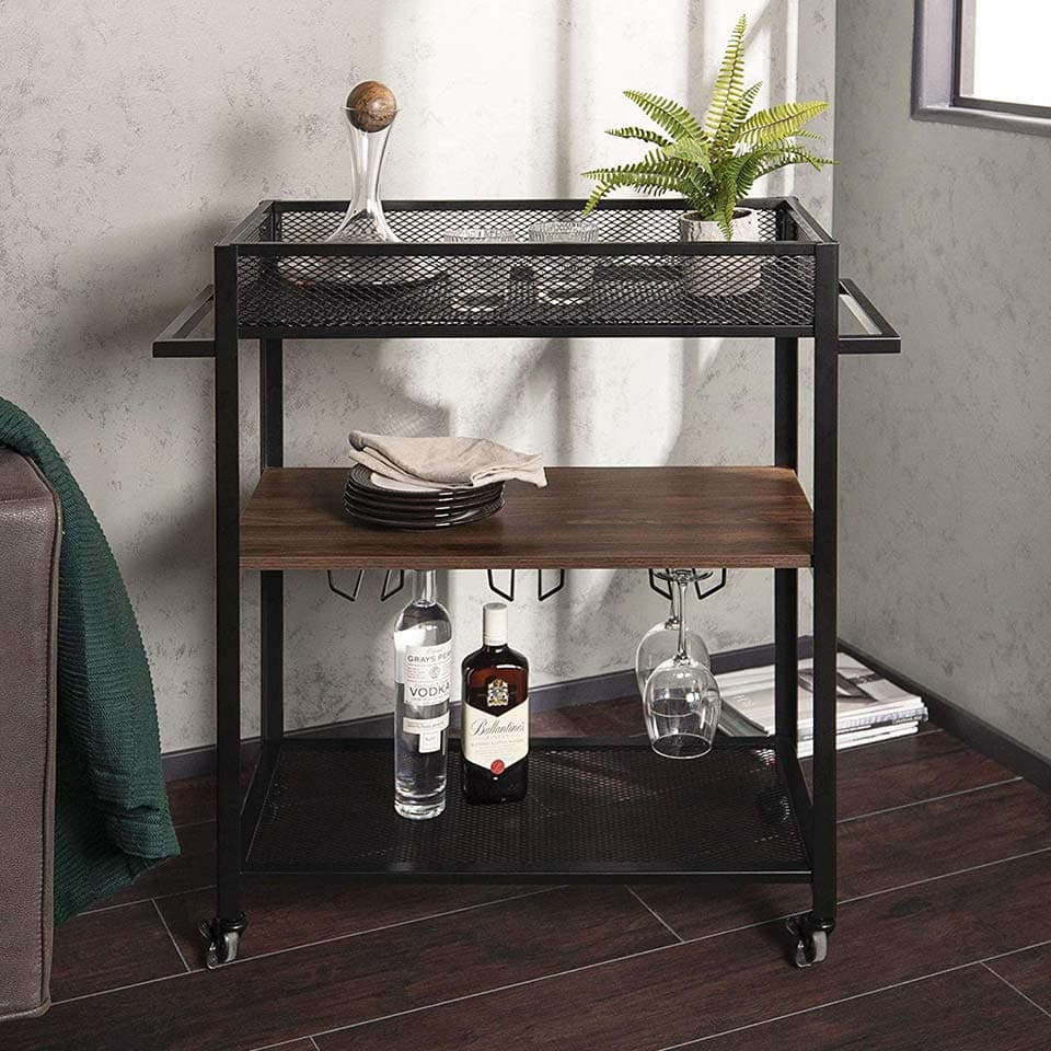 Metal and brown walnut wood bar cart from Walker Edison Furniture