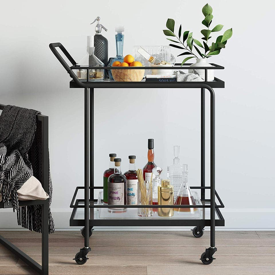 Metal and glass cart from Nathan James