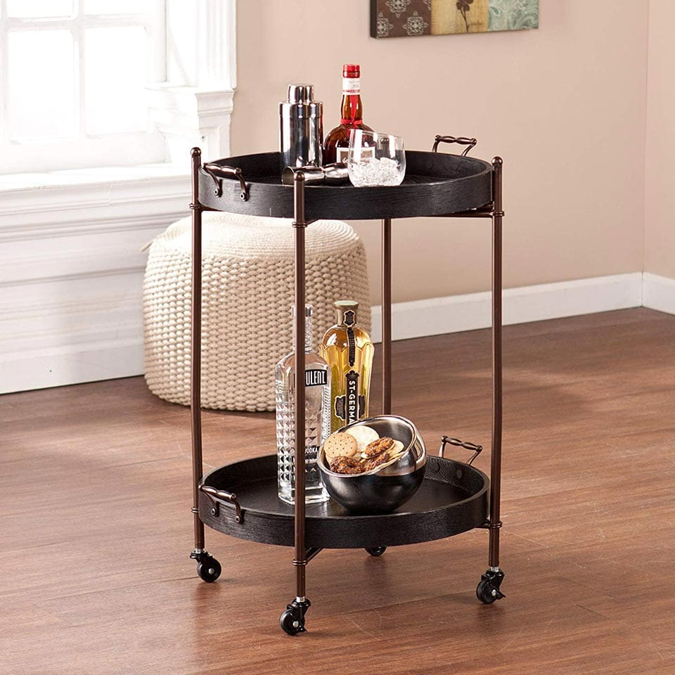 Round bar cart with removable trays from Southern Enterprises