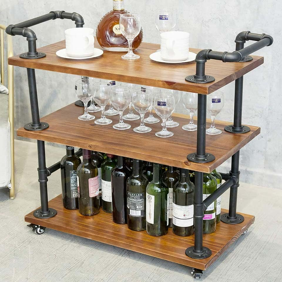 Best Bar Carts Solid wood and heavy-duty metal water pipe from DOFURNILIM