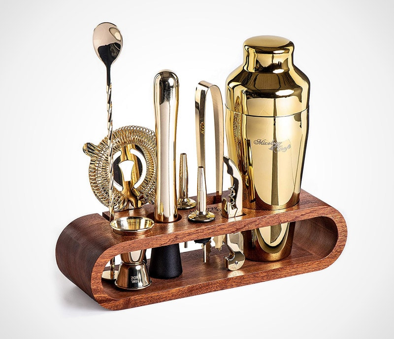 10-piece gold bar set: the classic set in gold and mahogany