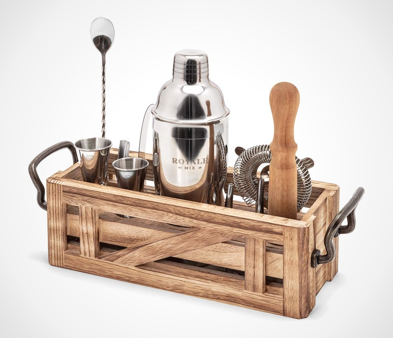Bar kit with wood stand: all the essentials with natural finish