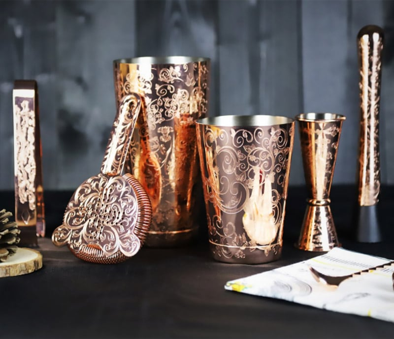 Etched with baroque engravings: a set for the golden age of noblemen