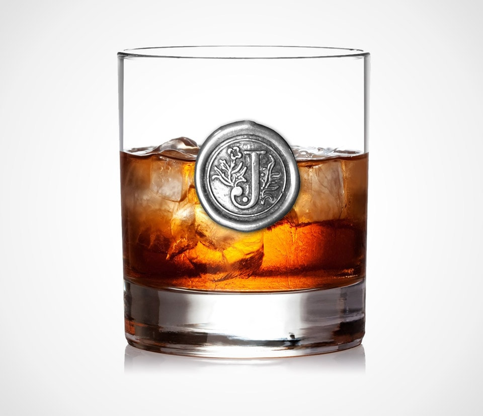 Personalized whiskey glass tumbler lowball with monogram by English Pewter Company