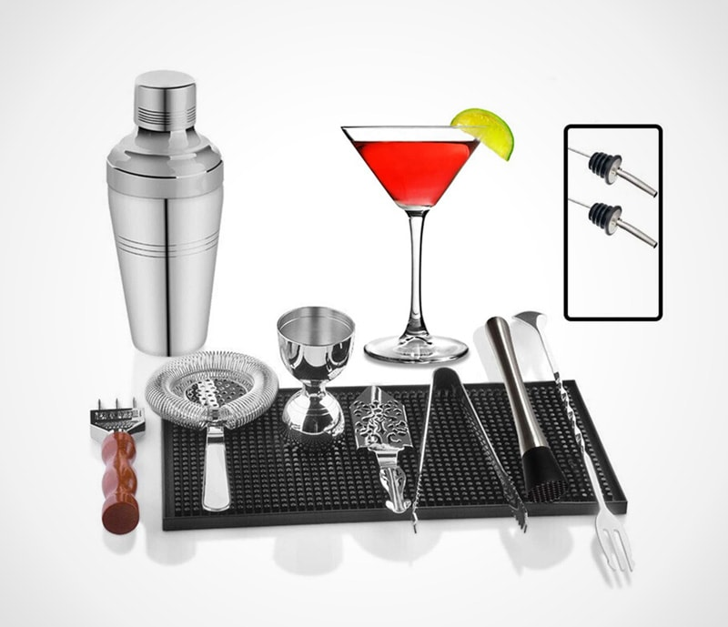 Stainless steel with practical placemat: classic bar set with absinthe spoon